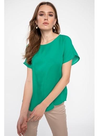 DeFacto Desenli Bluz Yeşil